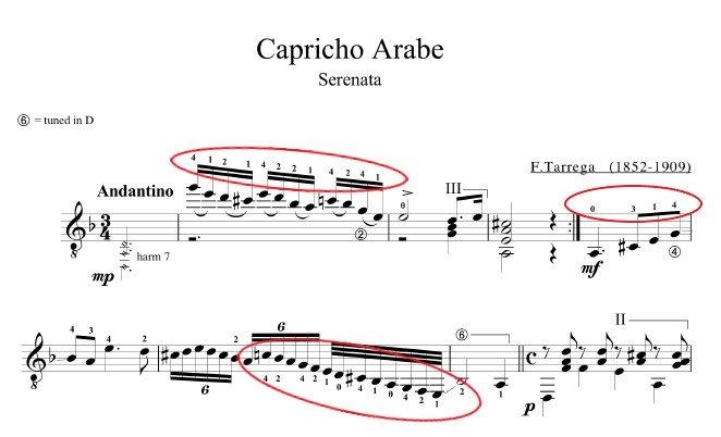 Tárrega's Capricho Arabe fingering